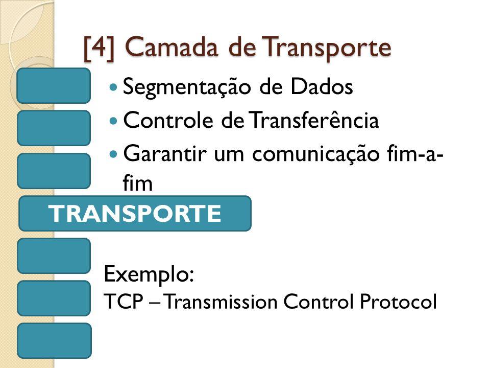 [4] Camada de Transporte Segmentação de Dados Controle de Transferência Garantir um comunicação fim-a- fim TRANSPORTE Exemplo: TCP – Transmission Control Protocol