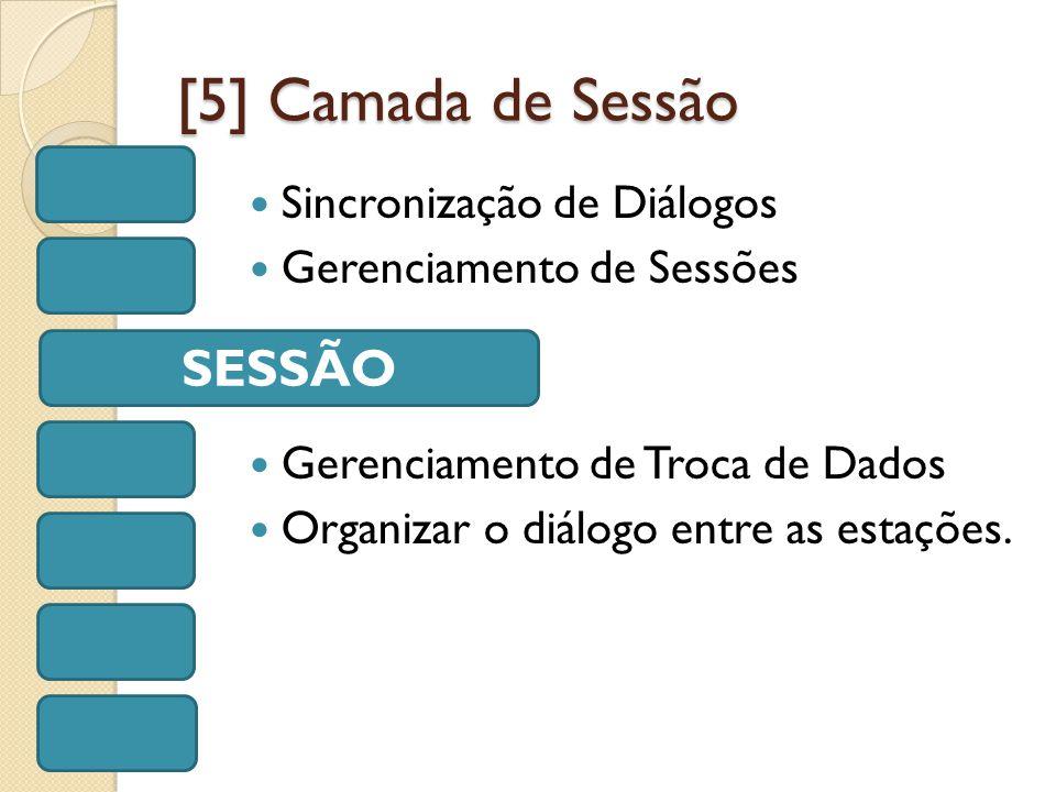 [5] Camada de Sessão Sincronização de Diálogos Gerenciamento de Sessões Gerenciamento de Troca de Dados Organizar o diálogo entre as estações.