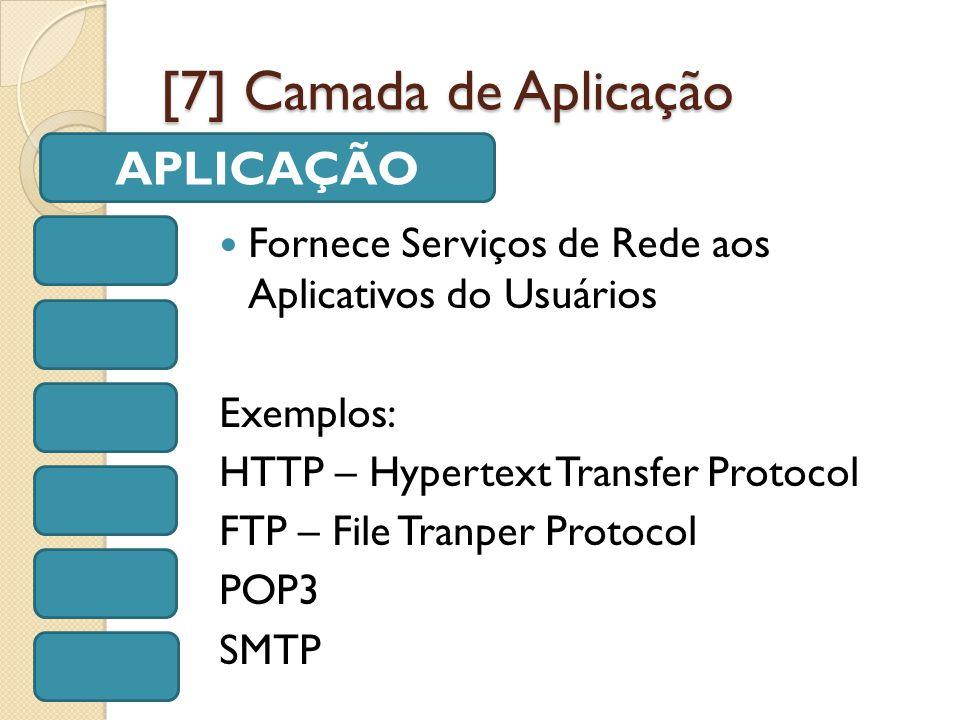 [7] Camada de Aplicação Fornece Serviços de Rede aos Aplicativos do Usuários Exemplos: HTTP – Hypertext Transfer Protocol FTP – File Tranper Protocol POP3 SMTP APLICAÇÃO