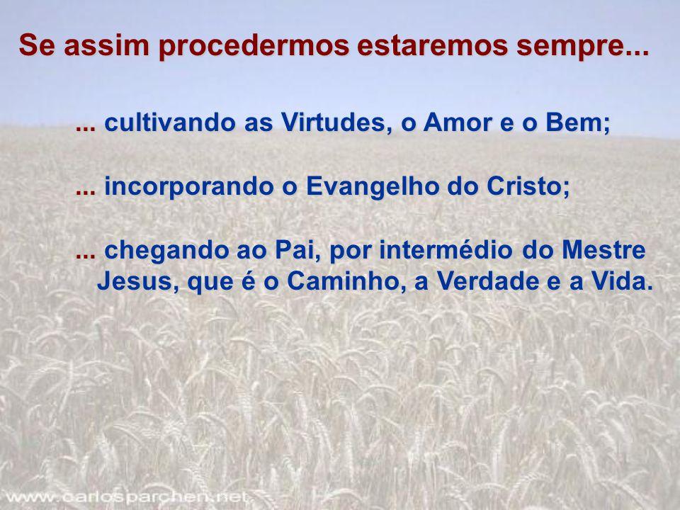 Se assim procedermos estaremos sempre...... cultivando as Virtudes, o Amor e o Bem;... incorporando o Evangelho do Cristo;... chegando ao Pai, por int