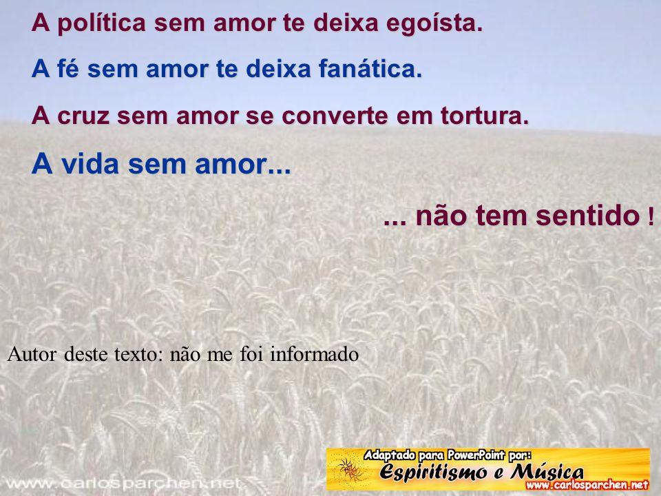 A política sem amor te deixa egoísta. A fé sem amor te deixa fanática. A cruz sem amor se converte em tortura. A vida sem amor...... não tem sentido !