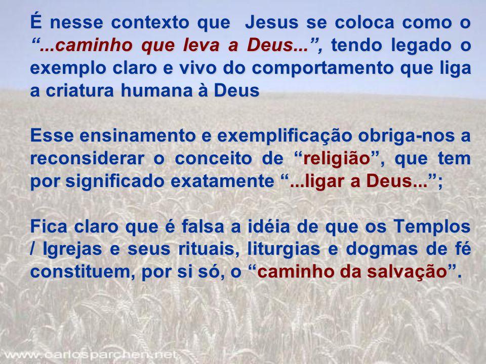 """É nesse contexto que Jesus se coloca como o """"...caminho que leva a Deus..."""", tendo legado o exemplo claro e vivo do comportamento que liga a criatura"""