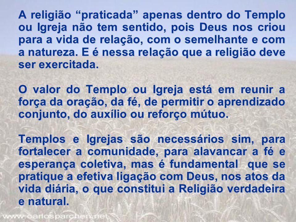 """A religião """"praticada"""" apenas dentro do Templo ou Igreja não tem sentido, pois Deus nos criou para a vida de relação, com o semelhante e com a naturez"""