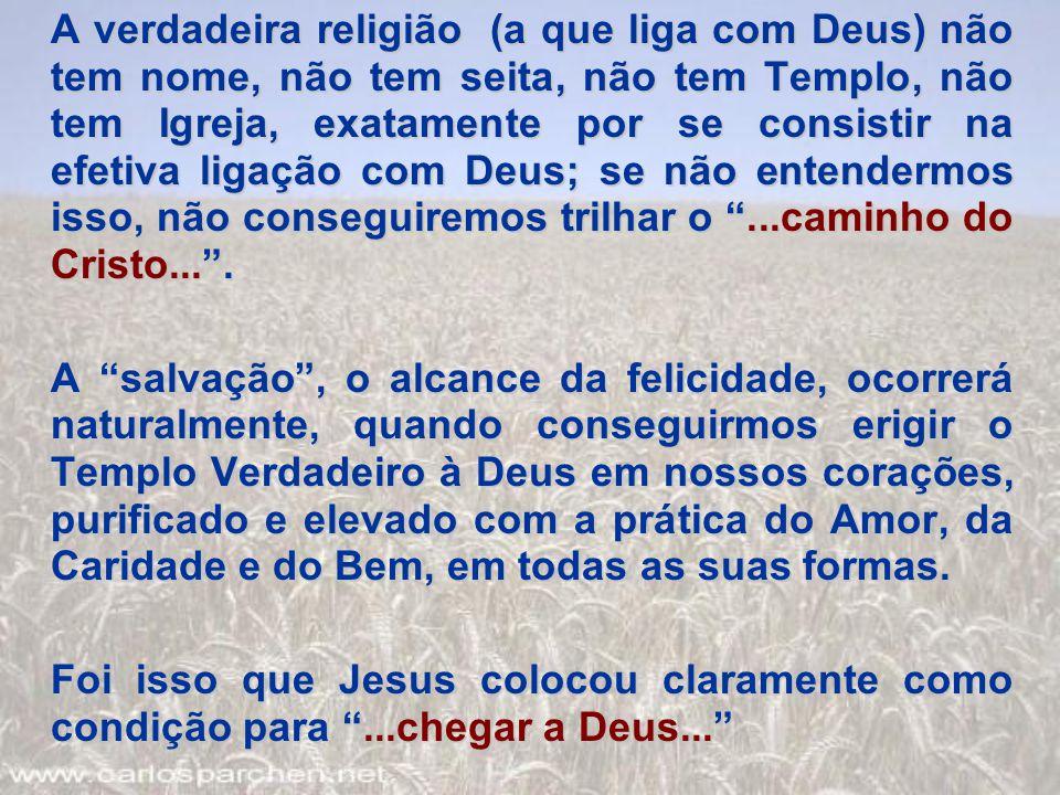 A verdadeira religião (a que liga com Deus) não tem nome, não tem seita, não tem Templo, não tem Igreja, exatamente por se consistir na efetiva ligaçã