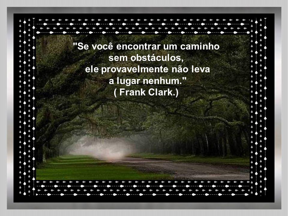 Se você encontrar um caminho sem obstáculos, ele provavelmente não leva a lugar nenhum. ( Frank Clark.)