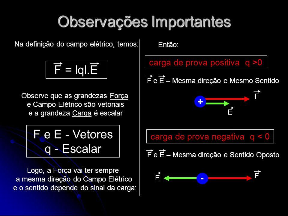 Observações Importantes F = lql.E Na definição do campo elétrico, temos: Observe que as grandezas Força e Campo Elétrico são vetoriais e a grandeza Ca