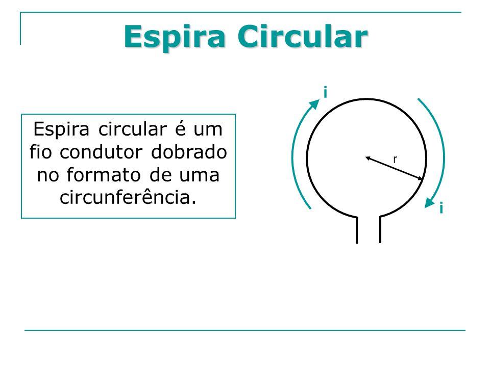 Espira Circular Espira circular é um fio condutor dobrado no formato de uma circunferência. r i i