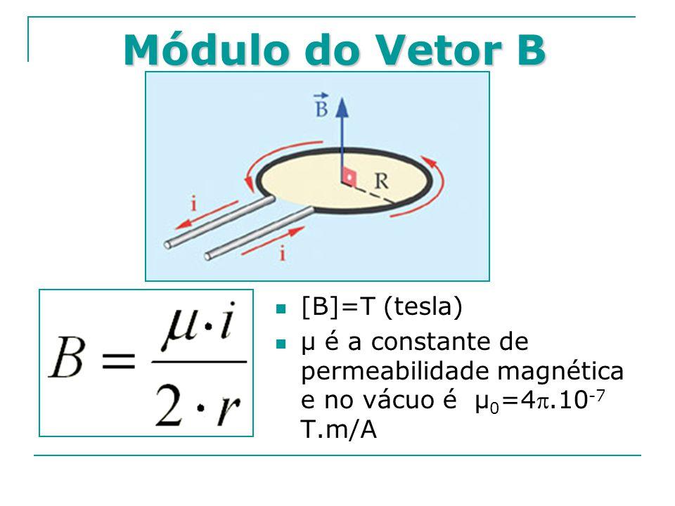 Módulo do Vetor B [B]=T (tesla) μ é a constante de permeabilidade magnética e no vácuo é μ 0 =4.10 -7 T.m/A