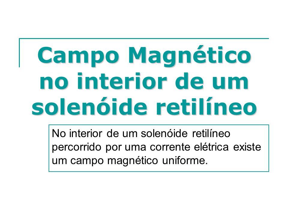 Campo Magnético no interior de um solenóide retilíneo No interior de um solenóide retilíneo percorrido por uma corrente elétrica existe um campo magné
