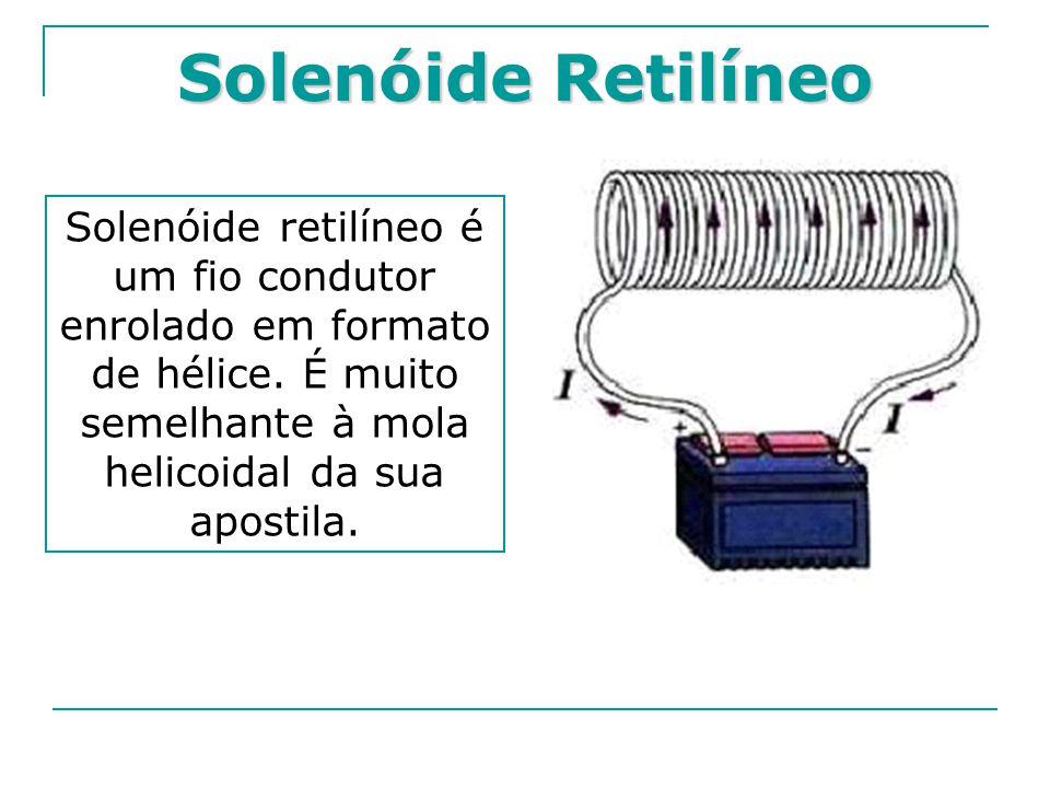 Solenóide Retilíneo Solenóide retilíneo é um fio condutor enrolado em formato de hélice. É muito semelhante à mola helicoidal da sua apostila.