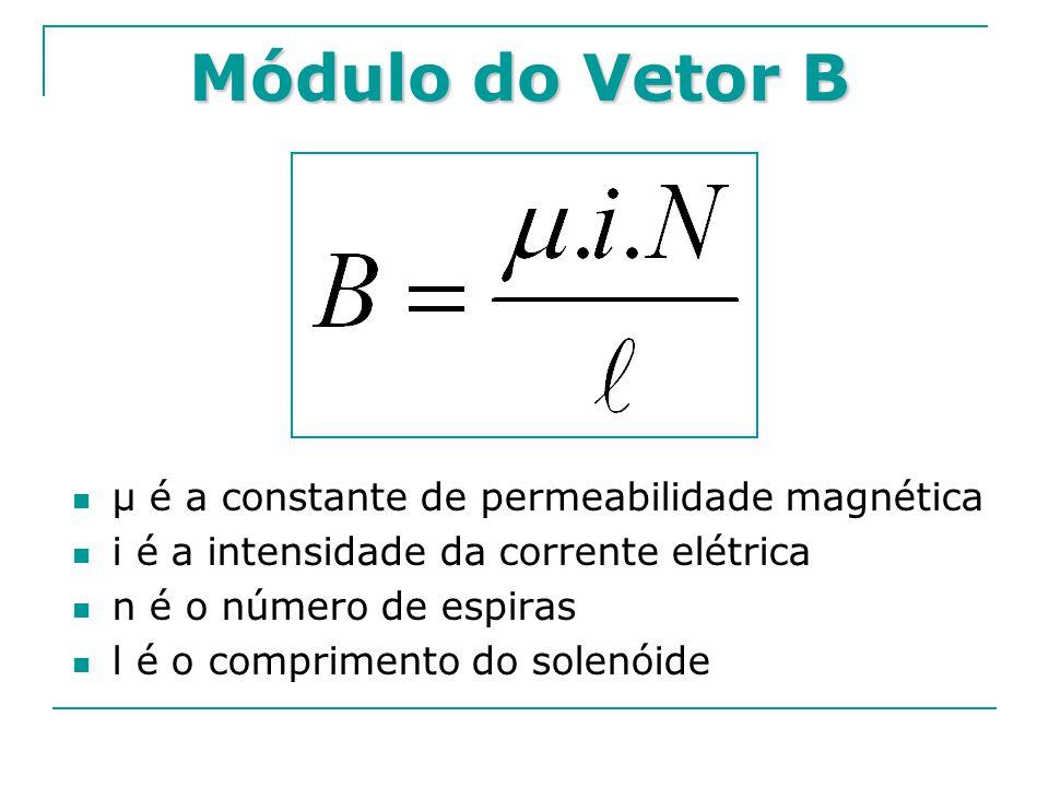 Módulo do Vetor B μ é a constante de permeabilidade magnética i é a intensidade da corrente elétrica n é o número de espiras l é o comprimento do sole