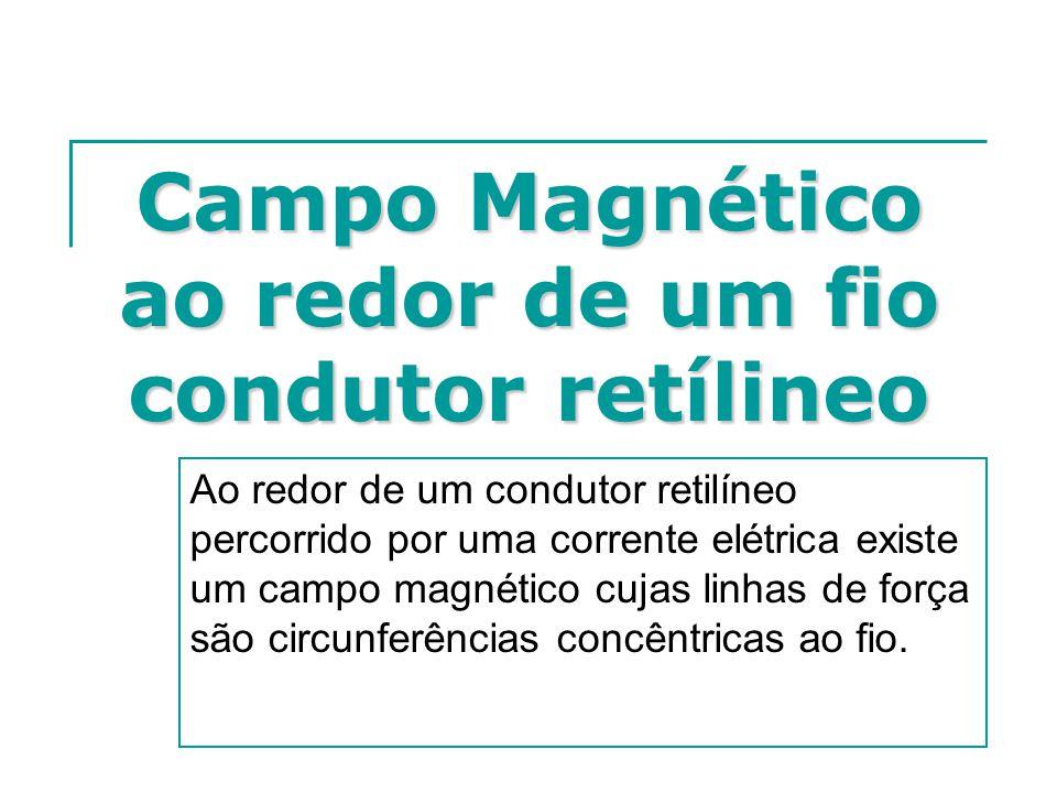 Campo Magnético ao redor de um fio condutor retílineo Ao redor de um condutor retilíneo percorrido por uma corrente elétrica existe um campo magnético