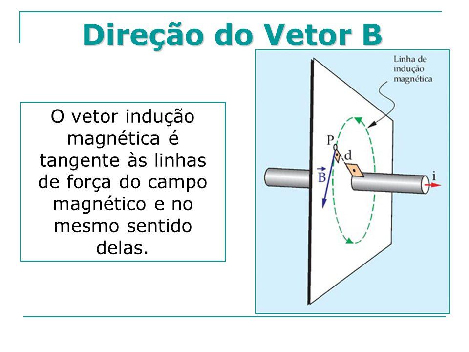 Direção do Vetor B O vetor indução magnética é tangente às linhas de força do campo magnético e no mesmo sentido delas.