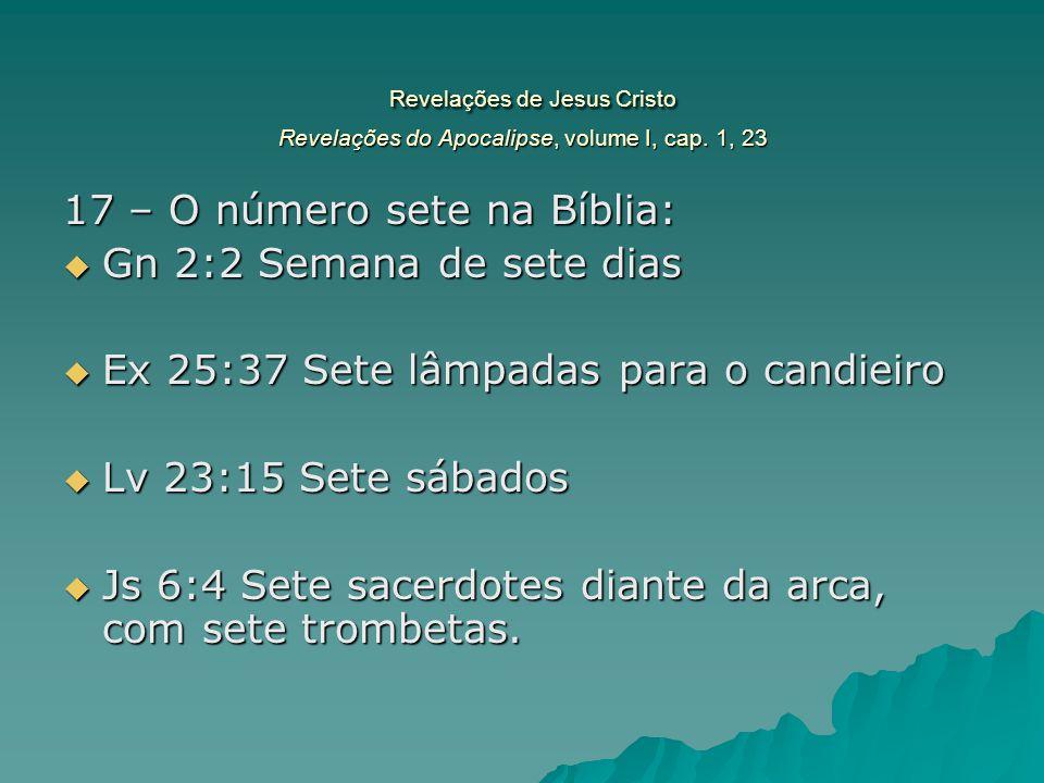 Revelações de Jesus Cristo Revelações do Apocalipse, volume I, cap. 1, 23 Revelações de Jesus Cristo Revelações do Apocalipse, volume I, cap. 1, 23 17