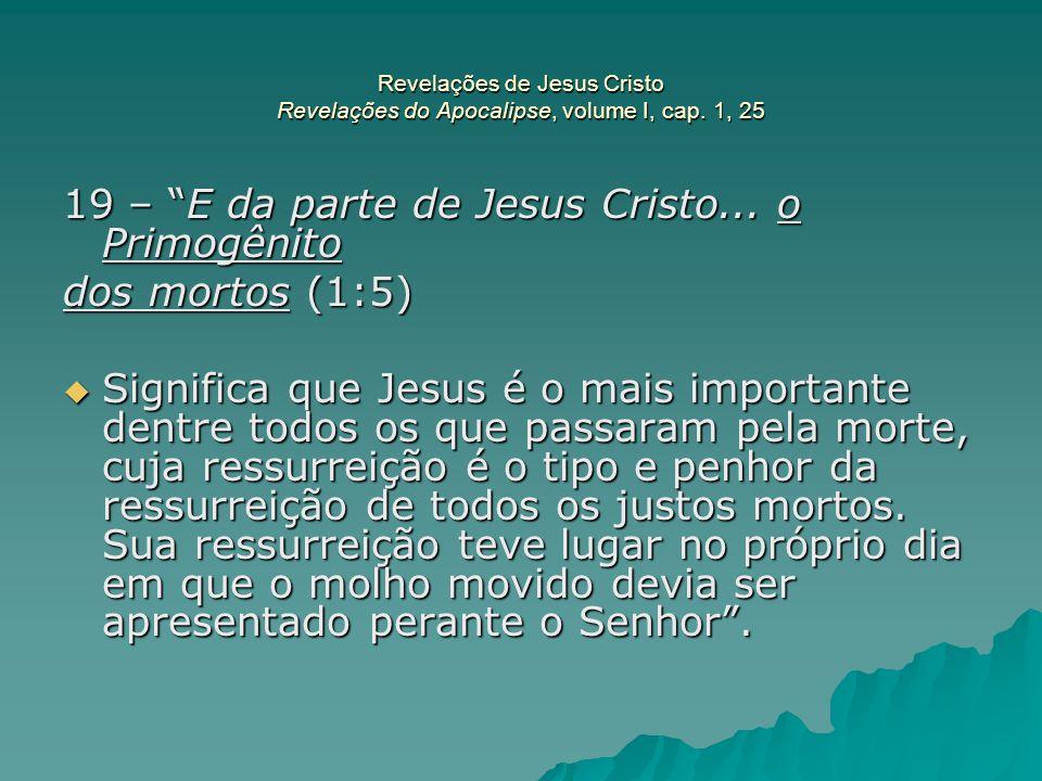 """Revelações de Jesus Cristo Revelações do Apocalipse, volume I, cap. 1, 25 19 – """"E da parte de Jesus Cristo... o Primogênito dos mortos (1:5)  Signifi"""