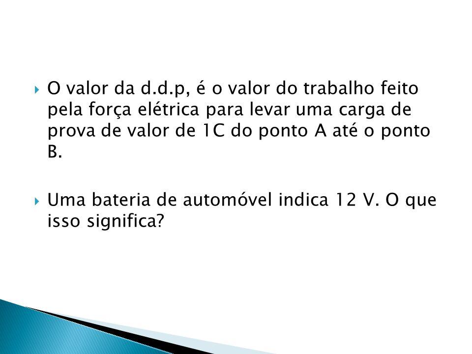  O valor da d.d.p, é o valor do trabalho feito pela força elétrica para levar uma carga de prova de valor de 1C do ponto A até o ponto B.  Uma bater