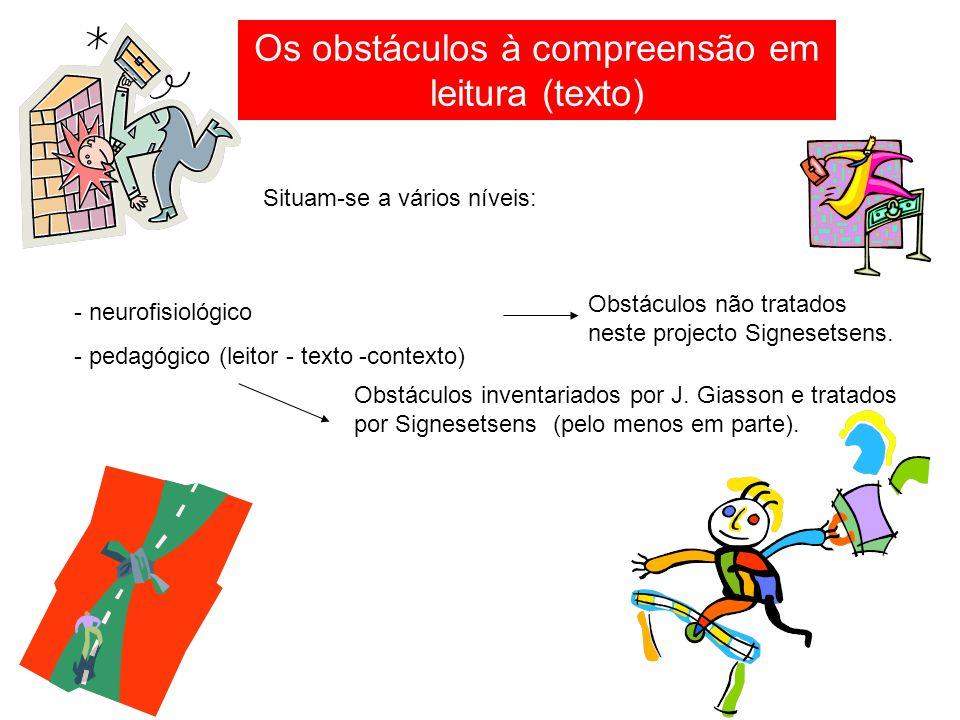 Os obstáculos à compreensão em leitura (texto) Situam-se a vários níveis: - neurofisiológico - pedagógico (leitor - texto -contexto) Obstáculos não tratados neste projecto Signesetsens.