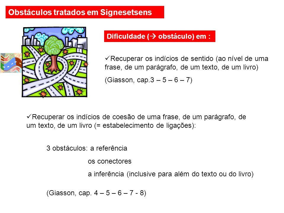 Dificuldade (  obstáculo) em : Recuperar os indícios de sentido (ao nível de uma frase, de um parágrafo, de um texto, de um livro) (Giasson, cap.3 – 5 – 6 – 7) Recuperar os indícios de coesão de uma frase, de um parágrafo, de um texto, de um livro (= estabelecimento de ligações): 3 obstáculos: a referência os conectores a inferência (inclusive para além do texto ou do livro) (Giasson, cap.