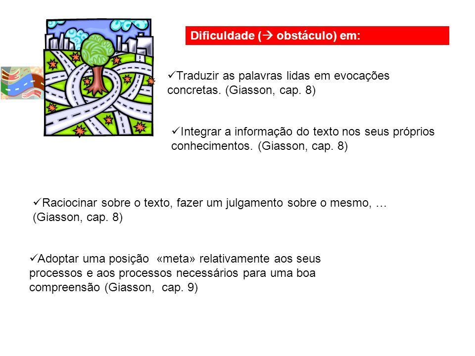Dificuldade (  obstáculo) em: Traduzir as palavras lidas em evocações concretas.