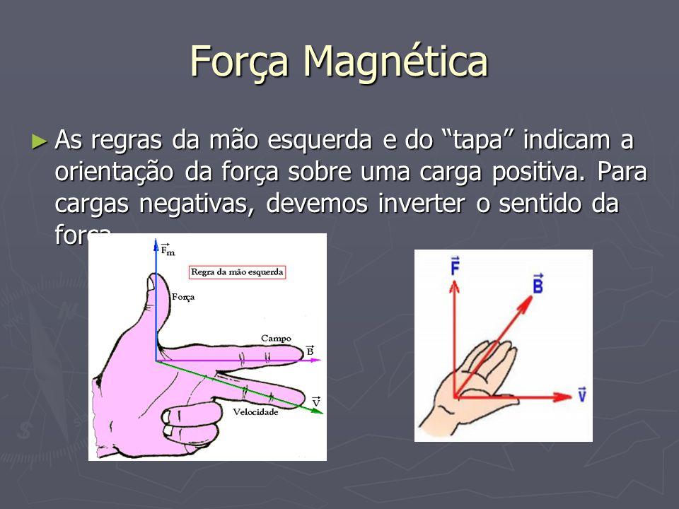 """Força Magnética ► As regras da mão esquerda e do """"tapa"""" indicam a orientação da força sobre uma carga positiva. Para cargas negativas, devemos inverte"""