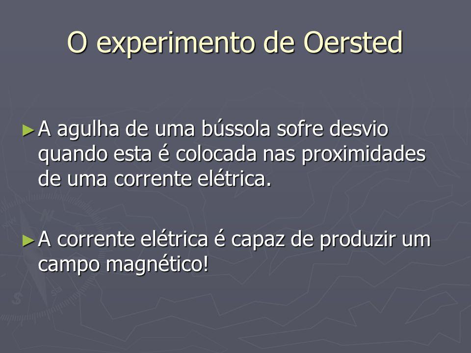 O experimento de Oersted ► A agulha de uma bússola sofre desvio quando esta é colocada nas proximidades de uma corrente elétrica. ► A corrente elétric