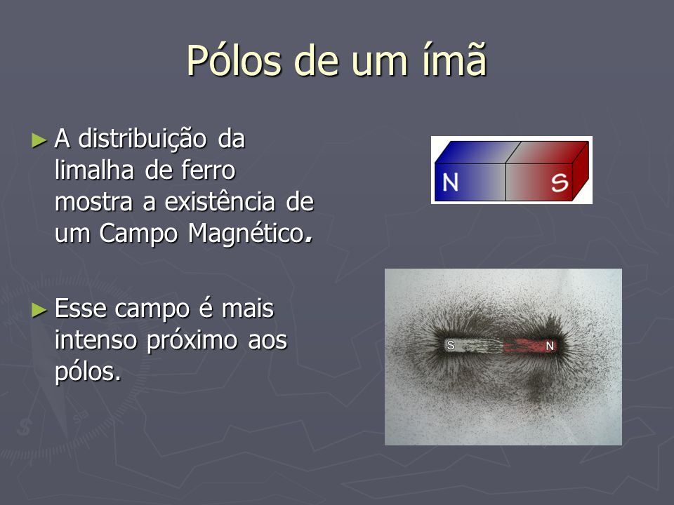 Pólos de um ímã ► A distribuição da limalha de ferro mostra a existência de um Campo Magnético. ► Esse campo é mais intenso próximo aos pólos.