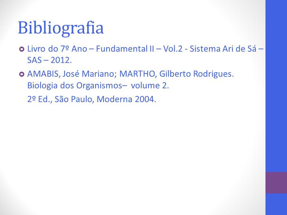 Bibliografia  Livro do 7º Ano – Fundamental II – Vol.2 - Sistema Ari de Sá – SAS – 2012.  AMABIS, José Mariano; MARTHO, Gilberto Rodrigues. Biologia