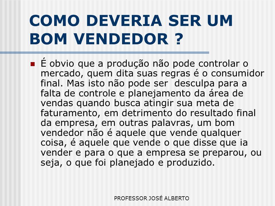 PROFESSOR JOSÉ ALBERTO COMO DEVERIA SER UM BOM VENDEDOR ? É obvio que a produção não pode controlar o mercado, quem dita suas regras é o consumidor fi