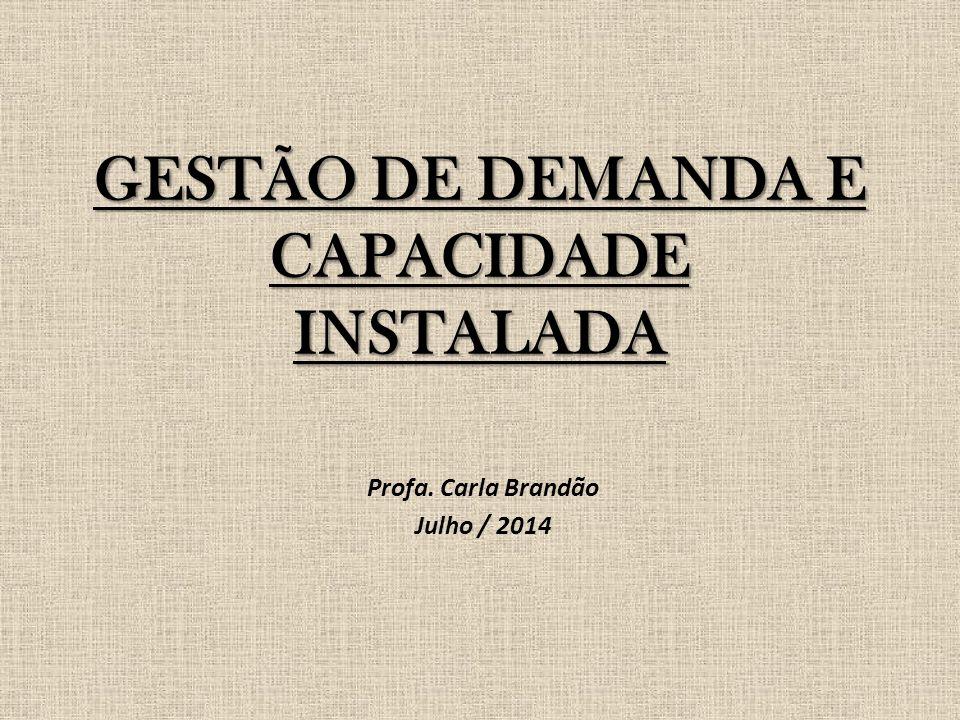 GESTÃO DE DEMANDA E CAPACIDADE INSTALADA Profa. Carla Brandão Julho / 2014