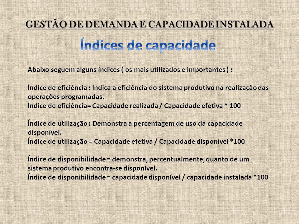 GESTÃO DE DEMANDA E CAPACIDADE INSTALADA Abaixo seguem alguns índices ( os mais utilizados e importantes ) : Índice de eficiência : Indica a eficiênci