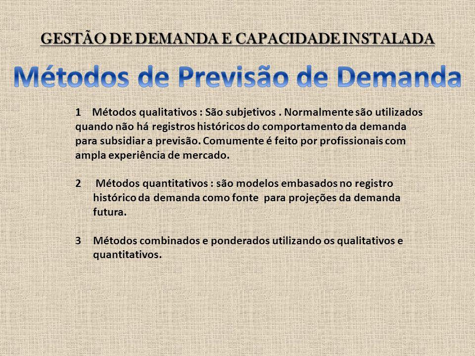 GESTÃO DE DEMANDA E CAPACIDADE INSTALADA 1 Métodos qualitativos : São subjetivos. Normalmente são utilizados quando não há registros históricos do com