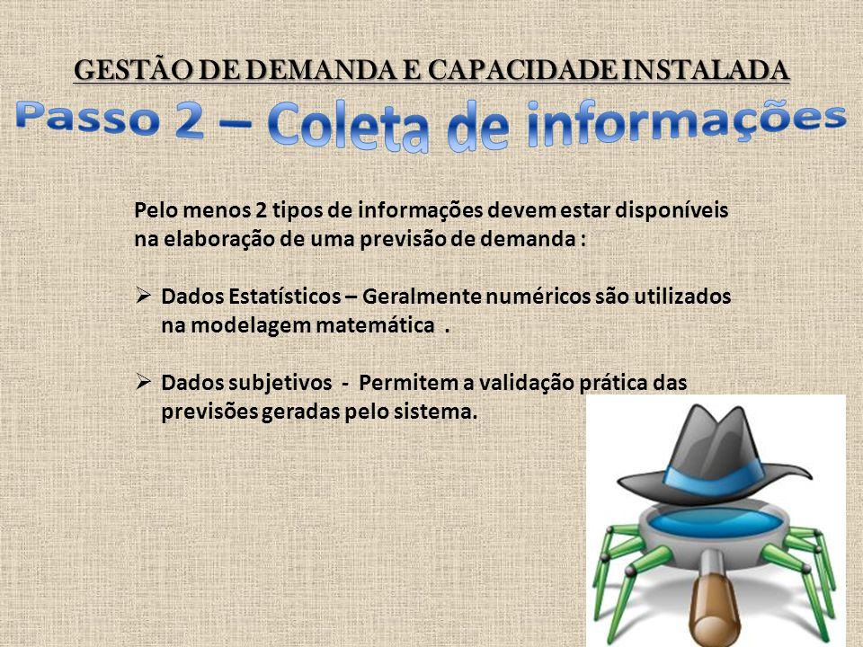 GESTÃO DE DEMANDA E CAPACIDADE INSTALADA Pelo menos 2 tipos de informações devem estar disponíveis na elaboração de uma previsão de demanda :  Dados