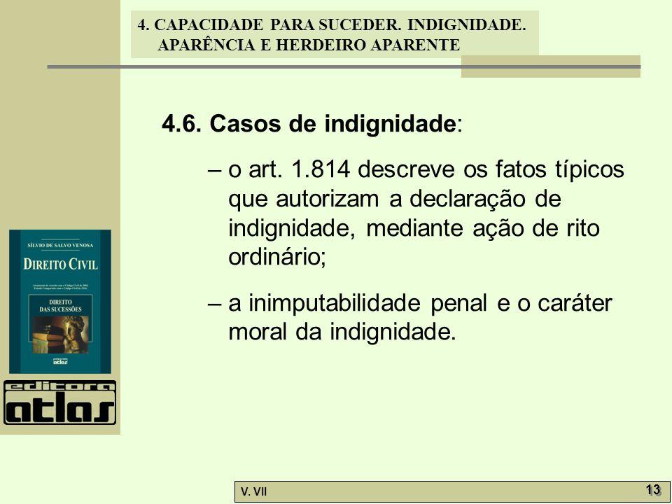 4. CAPACIDADE PARA SUCEDER. INDIGNIDADE. APARÊNCIA E HERDEIRO APARENTE V. VII 13 4.6. Casos de indignidade: – o art. 1.814 descreve os fatos típicos q
