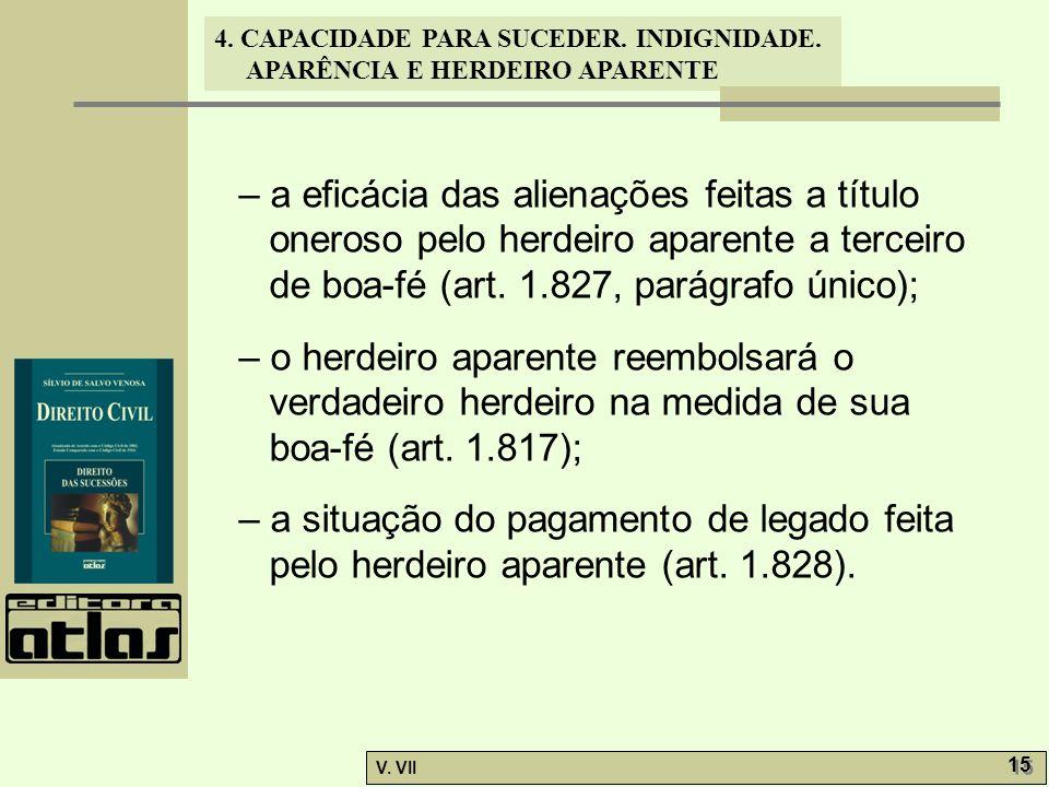 4. CAPACIDADE PARA SUCEDER. INDIGNIDADE. APARÊNCIA E HERDEIRO APARENTE V. VII 15 – a eficácia das alienações feitas a título oneroso pelo herdeiro apa