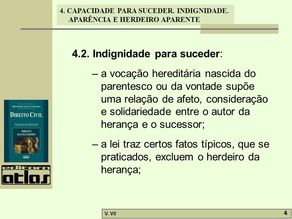 4. CAPACIDADE PARA SUCEDER. INDIGNIDADE. APARÊNCIA E HERDEIRO APARENTE V. VII 4 4 4.2. Indignidade para suceder: – a vocação hereditária nascida do pa