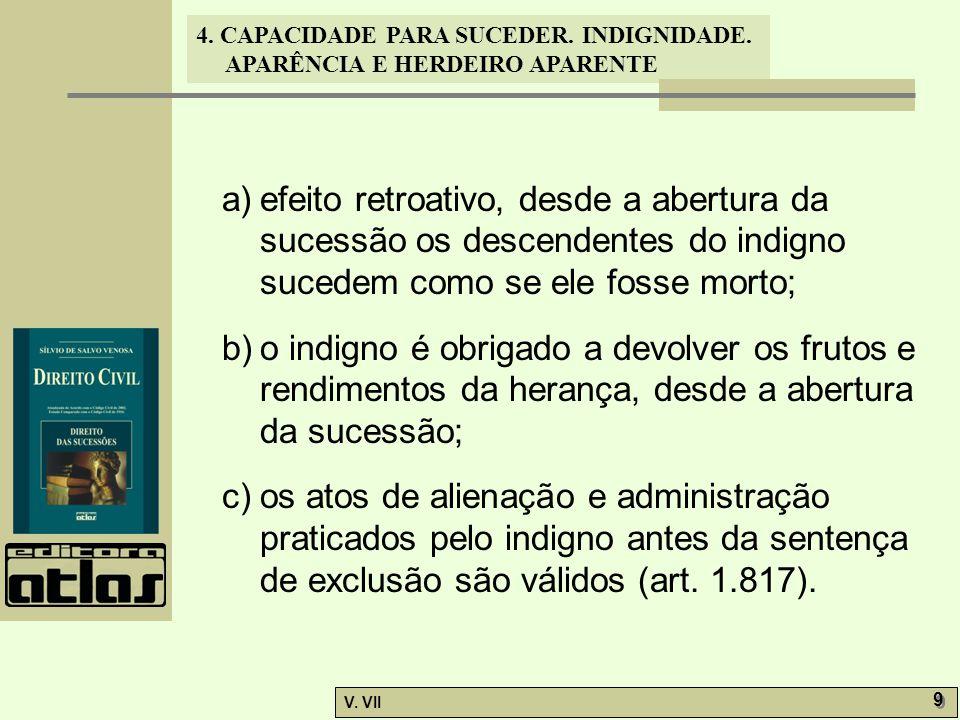 4. CAPACIDADE PARA SUCEDER. INDIGNIDADE. APARÊNCIA E HERDEIRO APARENTE V. VII 9 9 a) a)efeito retroativo, desde a abertura da sucessão os descendentes
