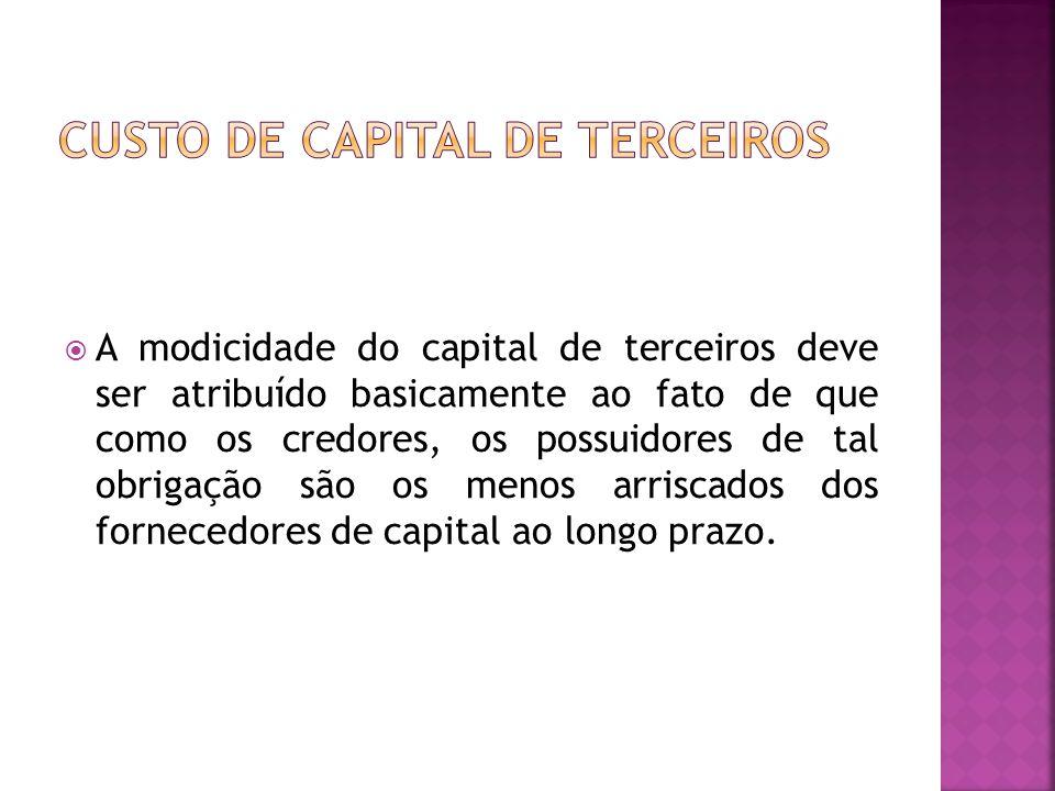  A modicidade do capital de terceiros deve ser atribuído basicamente ao fato de que como os credores, os possuidores de tal obrigação são os menos ar