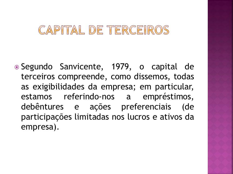  Segundo Sanvicente, 1979, o capital de terceiros compreende, como dissemos, todas as exigibilidades da empresa; em particular, estamos referindo-nos