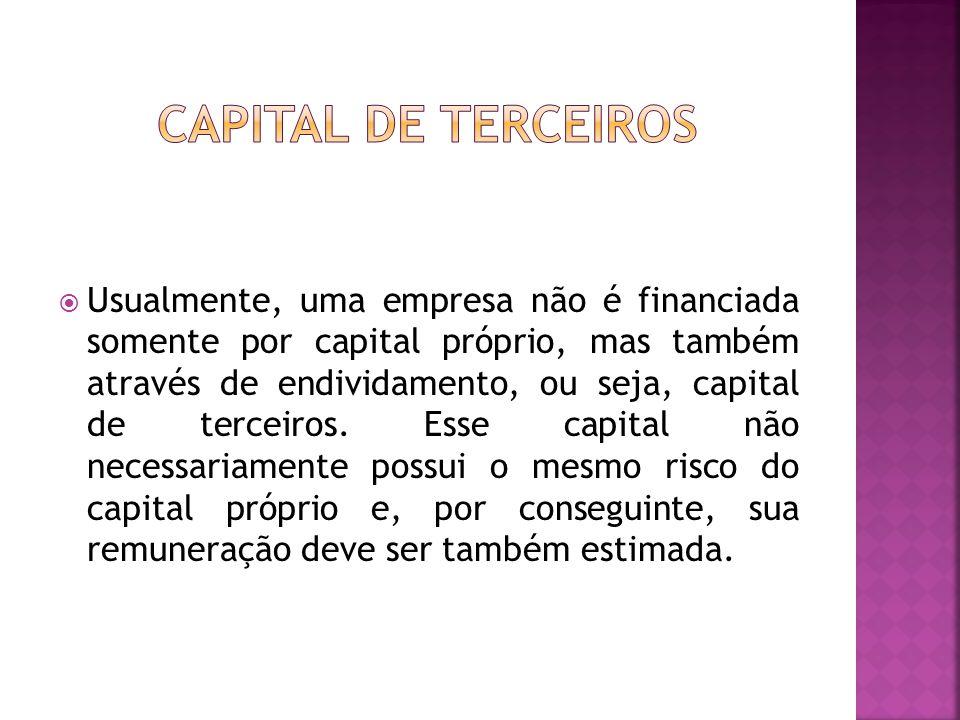  Usualmente, uma empresa não é financiada somente por capital próprio, mas também através de endividamento, ou seja, capital de terceiros. Esse capit