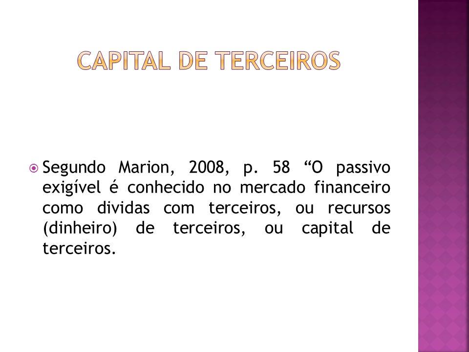 """ Segundo Marion, 2008, p. 58 """"O passivo exigível é conhecido no mercado financeiro como dividas com terceiros, ou recursos (dinheiro) de terceiros, o"""