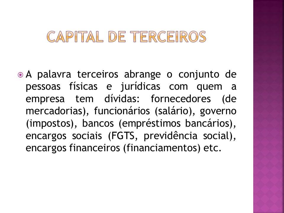  A palavra terceiros abrange o conjunto de pessoas físicas e jurídicas com quem a empresa tem dívidas: fornecedores (de mercadorias), funcionários (s