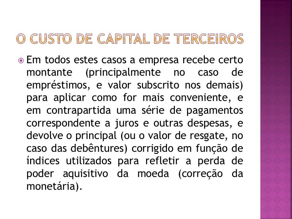  Portanto o custo de capital de terceiros é a a taxa efetiva de juros : o retorno que deve ser obtido em aplicações financiadas com recursos desse tipo, para que os lucros disponíveis aos acionistas ordinários não sejam alterados.