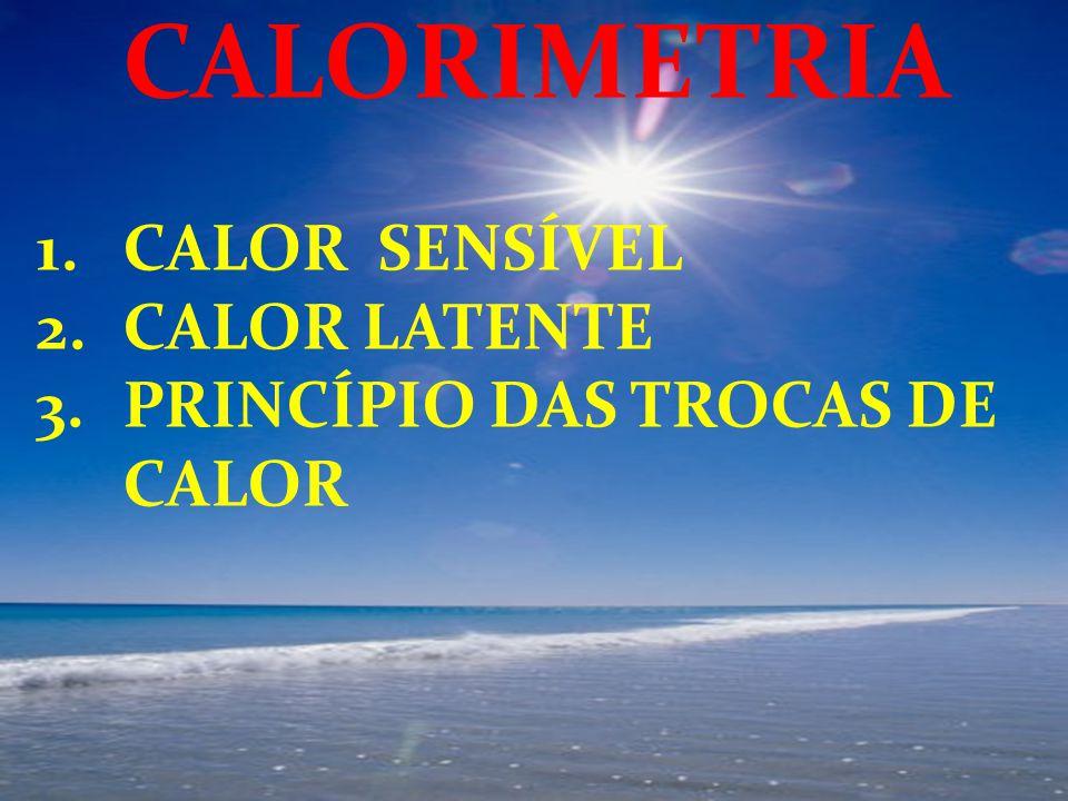 1.CALOR SENSÍVEL 2.CALOR LATENTE 3.PRINCÍPIO DAS TROCAS DE CALOR CALORIMETRIA