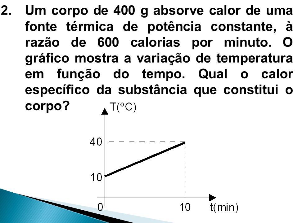 2.Um corpo de 400 g absorve calor de uma fonte térmica de potência constante, à razão de 600 calorias por minuto. O gráfico mostra a variação de tempe
