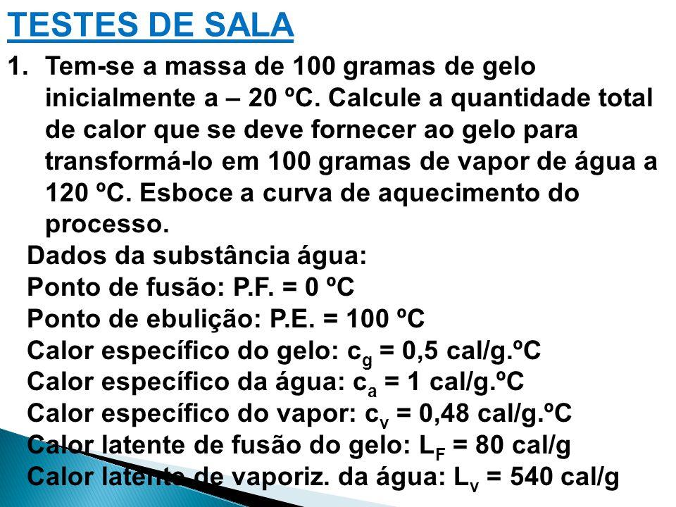 1.Tem-se a massa de 100 gramas de gelo inicialmente a – 20 ºC. Calcule a quantidade total de calor que se deve fornecer ao gelo para transformá-lo em
