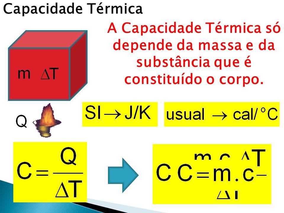 Capacidade Térmica A Capacidade Térmica só depende da massa e da substância que é constituído o corpo.