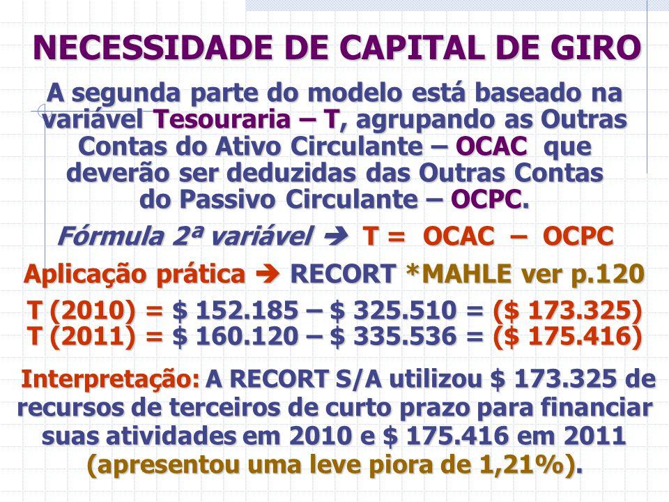 NECESSIDADE DE CAPITAL DE GIRO NECESSIDADE DE CAPITAL DE GIRO A segunda parte do modelo está baseado na variável Tesouraria – T, agrupando as Outras C