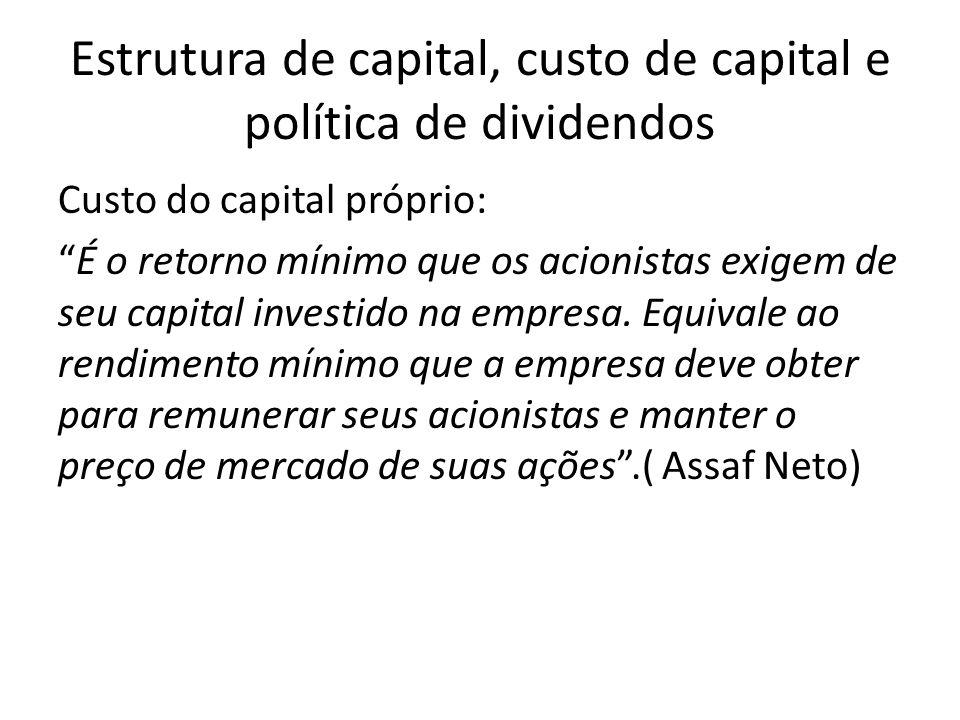 Custo do capital próprio: É o retorno mínimo que os acionistas exigem de seu capital investido na empresa.