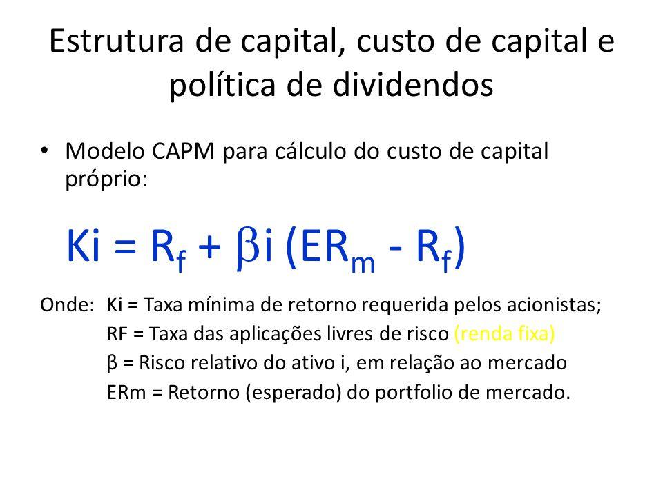 Estrutura de capital, custo de capital e política de dividendos Modelo CAPM para cálculo do custo de capital próprio: Ki = R f +  i (ER m - R f ) Onde:Ki = Taxa mínima de retorno requerida pelos acionistas; RF = Taxa das aplicações livres de risco (renda fixa) β = Risco relativo do ativo i, em relação ao mercado ERm = Retorno (esperado) do portfolio de mercado.