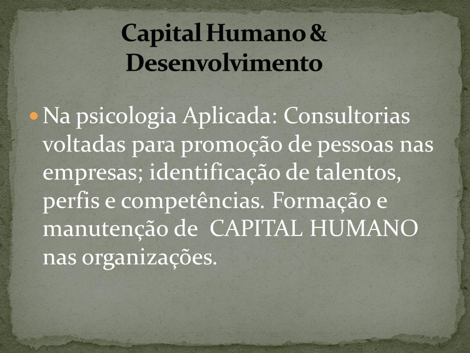 Na psicologia Aplicada: Consultorias voltadas para promoção de pessoas nas empresas; identificação de talentos, perfis e competências. Formação e manu